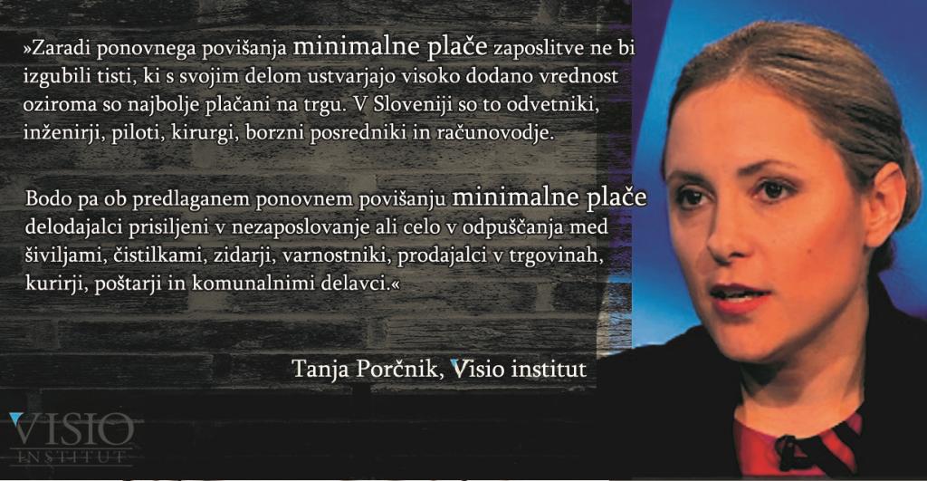 Tanja Porčnik, minimalna plača